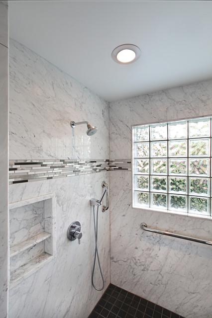 White Marble Walk In Shower Modern Bathroom Detroit