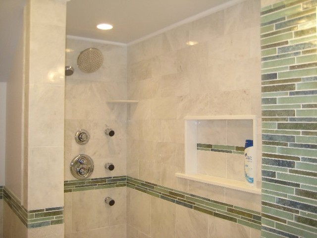 White marble with Blue Lineality Glass tropical-bathroom