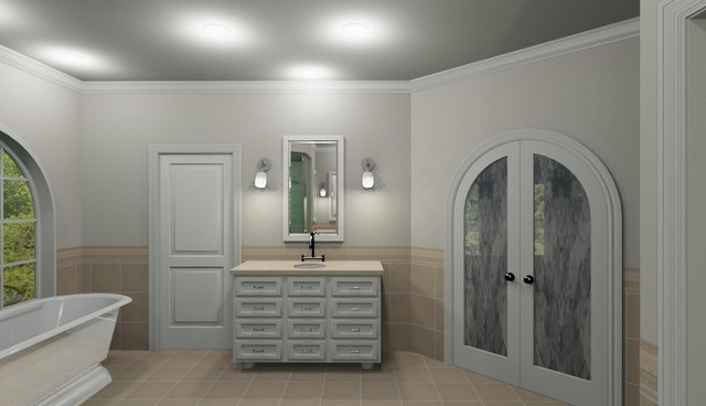 White Master Bath contemporary-bathroom