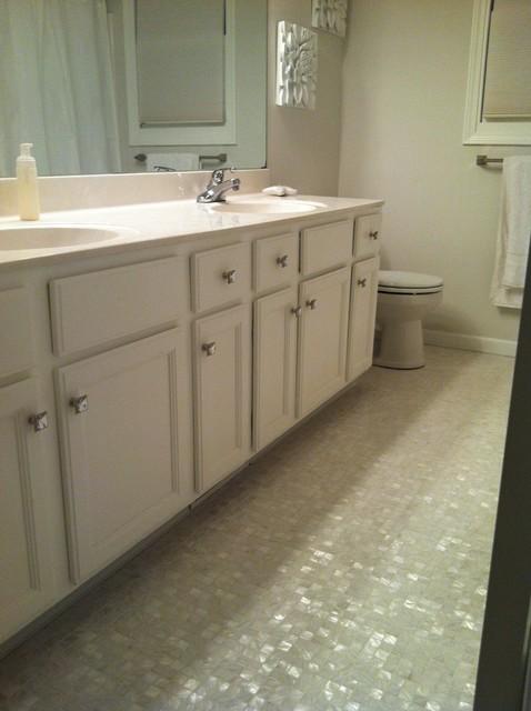 White Mother Of Pearl 1 X Backsplash Traditional Bathroom