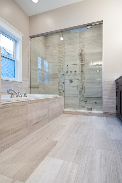 White Oak Honed Marble Bathroom Contemporary Bathroom