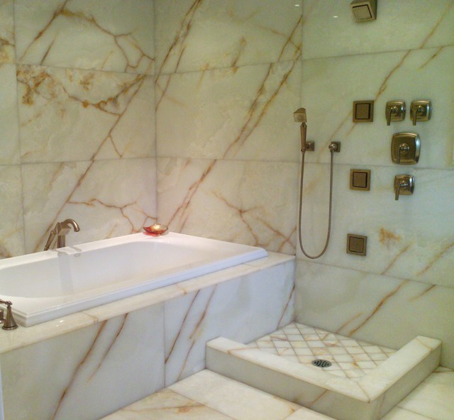 White Onyx Master Bathroom Modern Bathroom Seattle By Antony Architectural Stone