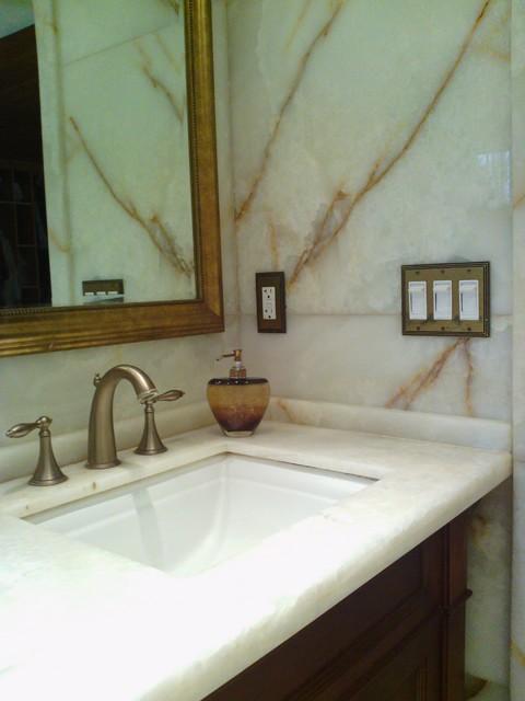 White Onyx Master Bathroom - Modern - Bathroom - seattle - by Antony Architectural Stone
