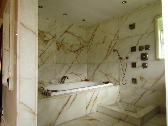 White Onyx Master Bathroom Modern Seattle