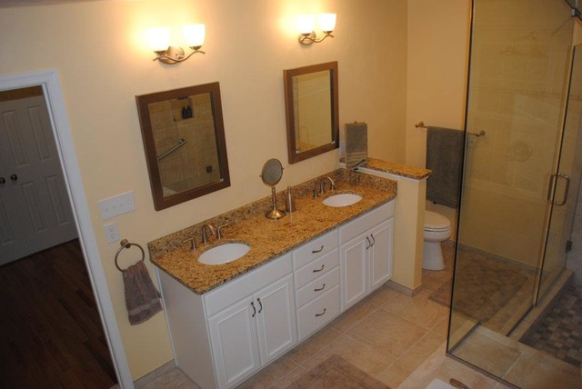 White Painted Cabinets, Granite Tops, Undermount White Sinks