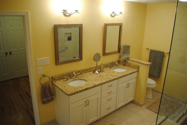 White Painted Cabinets, Granite Vanity Top, White Undermount Sinks ...