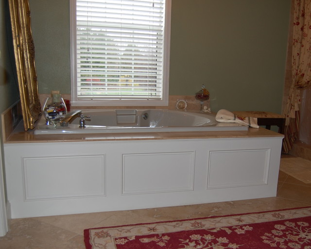 Waterproof panels for bathrooms - White Panel Tub Moulding Traditional Bathroom Other Metro By