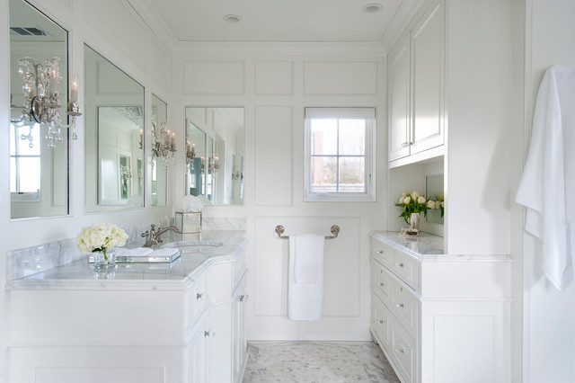 White Paneled Master Bathroom In Saint Davids Traditional