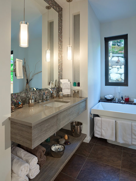 White Rock 3 - A 'floating' vanity design in wire brushed edge grain fir. (Gary Beale, photographer)