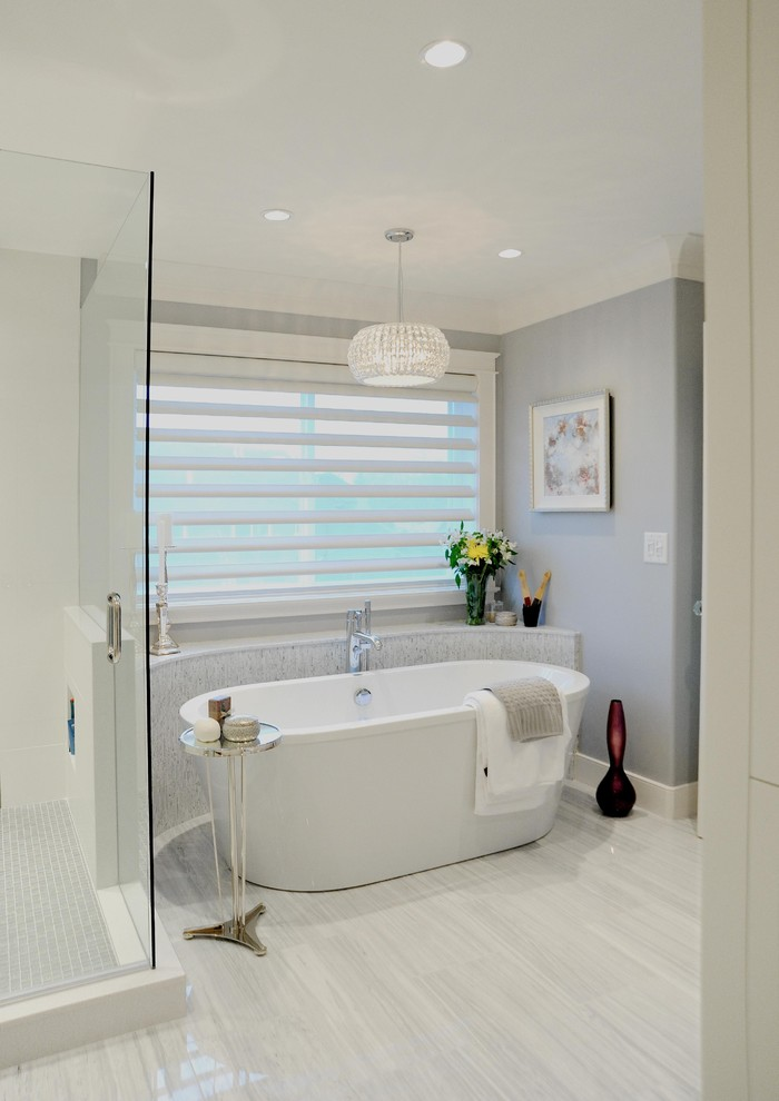Bathroom - mid-sized traditional master white tile and stone tile marble floor bathroom idea in Vancouver with an undermount sink