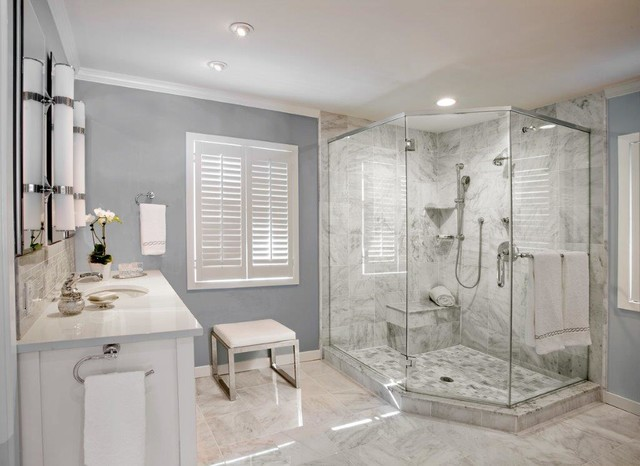 White Spa Master Bathroom Modern Bathroom