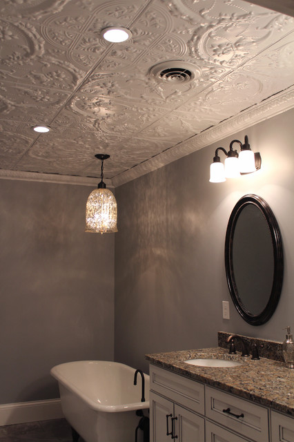 Tin Ceiling In Bathroom. White Statement Ceiling Contemporary Bathroom