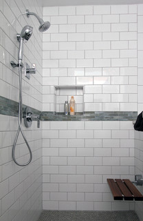 White Subway Tile Shower Traditional Bathroom