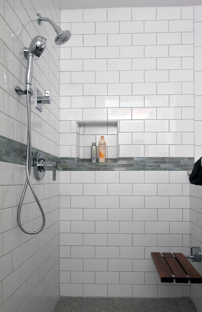 Shower Subway Tile white subway tile shower - traditional - bathroom - philadelphia