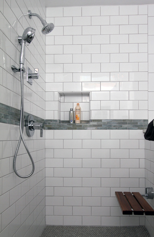 White Subway Tile Shower Traditional