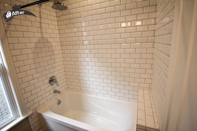 White subway tile standard bathroom renovation rustic bathroom