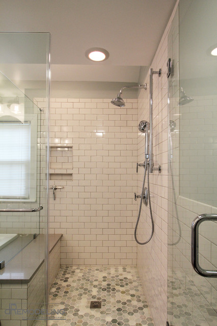 White Subway Tile Walk In Shower Transitional Bathroom