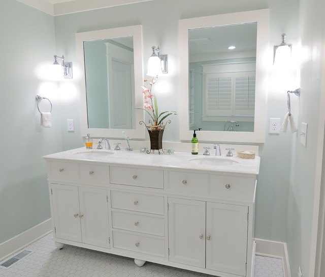 White vanity with white mirrors traditional bathroom for Renew bathroom
