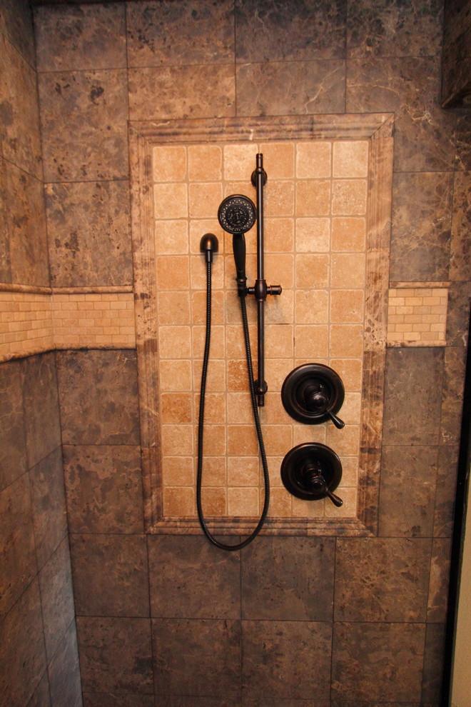 Doorless shower - large rustic master stone tile doorless shower idea in Portland