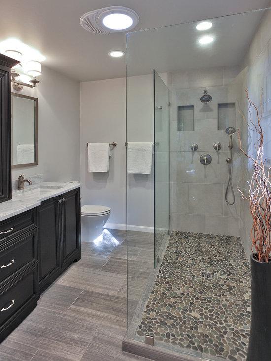 River rock shower floor design ideas pictures remodel for River rock bathroom ideas