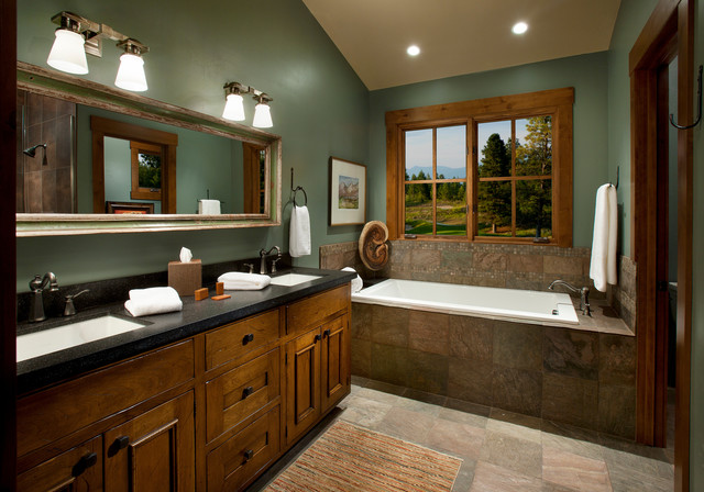 Example Of A Mountain Style Brown Tile And Slate Drop In Bathtub Design