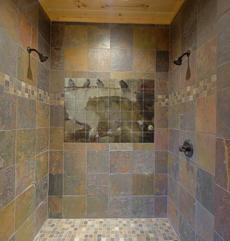 Wildlife tile mural in shower contemporary bathroom for Bathroom wall tile designs photos