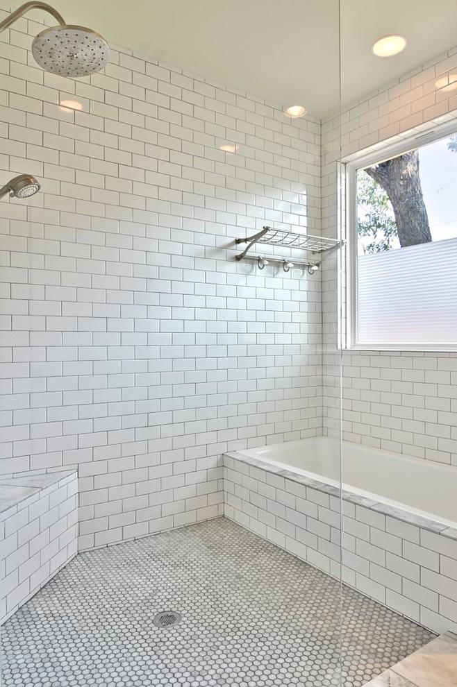 Bathroom - transitional subway tile bathroom idea in Austin