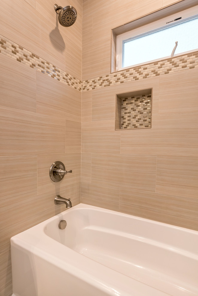 Example of a mid-sized arts and crafts kids' multicolored tile and porcelain tile porcelain tile bathroom design in San Francisco with a drop-in sink, shaker cabinets, white cabinets, quartz countertops, a two-piece toilet and gray walls