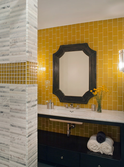 Trendy mosaic tile and yellow tile bathroom photo in San Francisco with marble countertops, yellow walls, black cabinets and an undermount sink