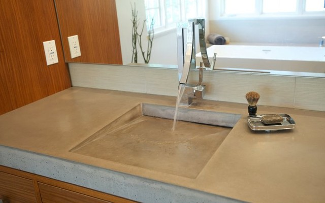 Willow: Hyde Park Bungalow Addition/ Remodel - Master Bath Concrete Sink contemporary-bathroom