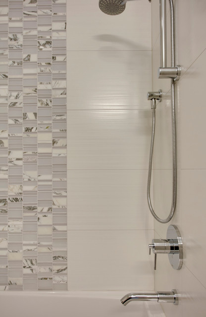 Alcove shower - contemporary 3/4 blue tile, white tile and mosaic tile alcove shower idea in Calgary with flat-panel cabinets, gray cabinets, beige walls, an undermount sink and granite countertops