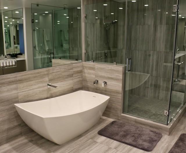 Wilshire corridor contemporary bathroom los angeles for Bathroom floor covering