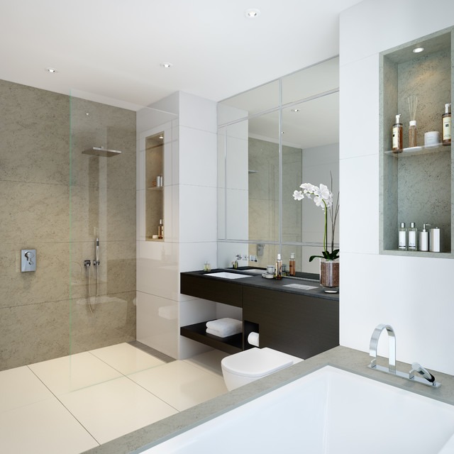 Wimbledon Hill Park, London contemporary-bathroom