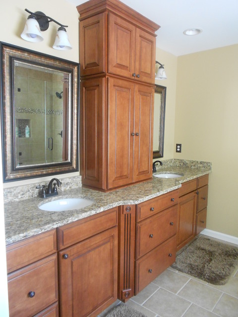 Winchester maple square in cognac finish by shenandoah Bathroom design centers atlanta