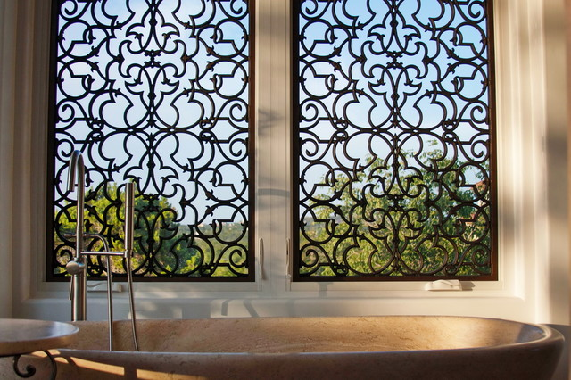 Window treatments enliven spaces with tableaux faux iron grilles contemporary by tableaux - Decorative window grills ...