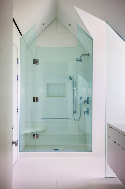 Alcove shower - contemporary white tile alcove shower idea in Miami with flat-panel cabinets and white cabinets