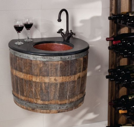 Wine Barrel eclectic bathroom