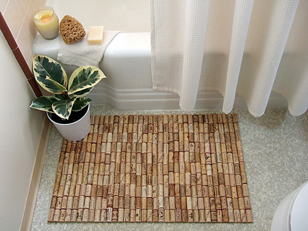 Wine cork bath mat contemporary bathroom