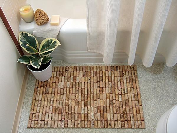 Wine cork bath mat contemporary-bathroom