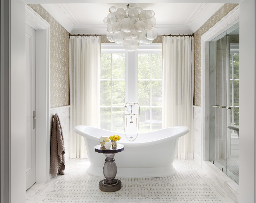 Inspiration for a timeless white tile bathroom remodel in Chicago with gray walls