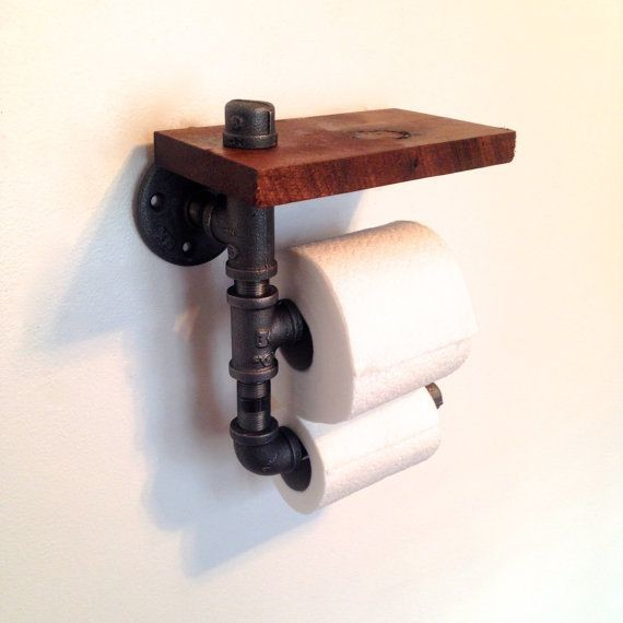 Wood And Pipe Toilet Paper Holder Rustic Bathroom