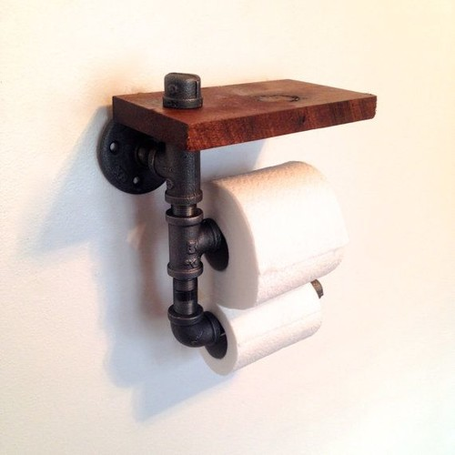 Wood and Pipe Toilet Paper Holder