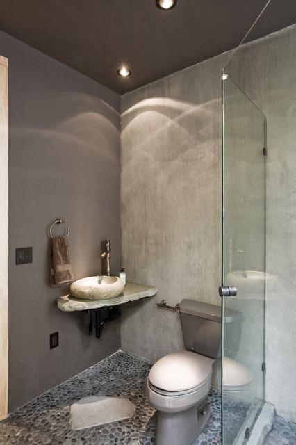 Wood home contemporary-bathroom