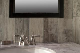 Wood Look Tile Backsplash Rustic Bathroom Atlanta