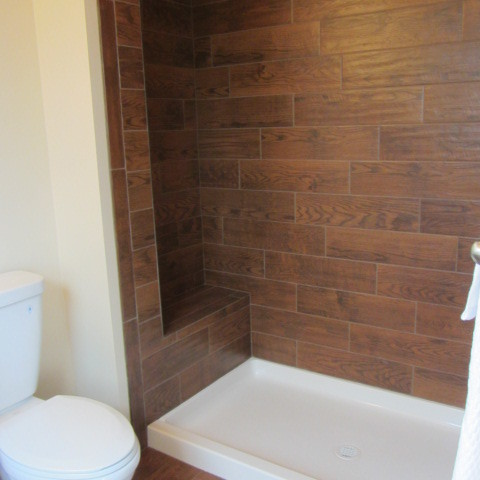 Wood Tile Bathroom Traditional Bathroom Philadelphia By On A Budget Decorating Llc