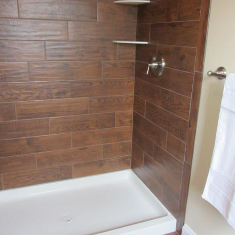Wood Tile Bathroom Contemporary Bathroom Philadelphia By On A Budget Decorating Llc