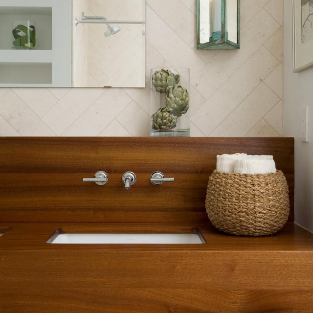 wood vanity countertops contemporary bathroom by