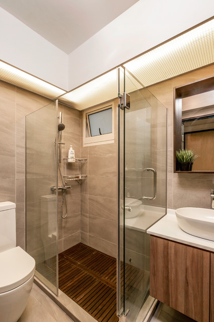 Woodcress hdb bto contemporary bathroom singapore by zee and marina photography Hdb master bedroom toilet design