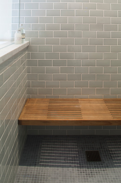 Wooden Shower Bench With Blue Tile Traditional