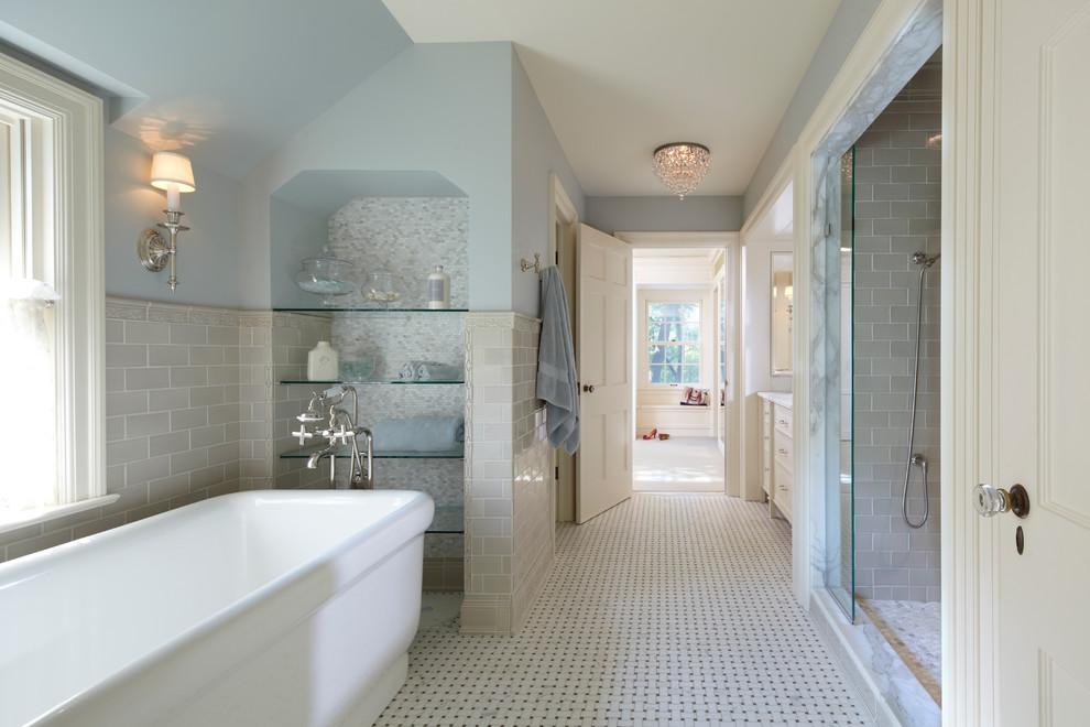 Freestanding bathtub - traditional freestanding bathtub idea in Minneapolis